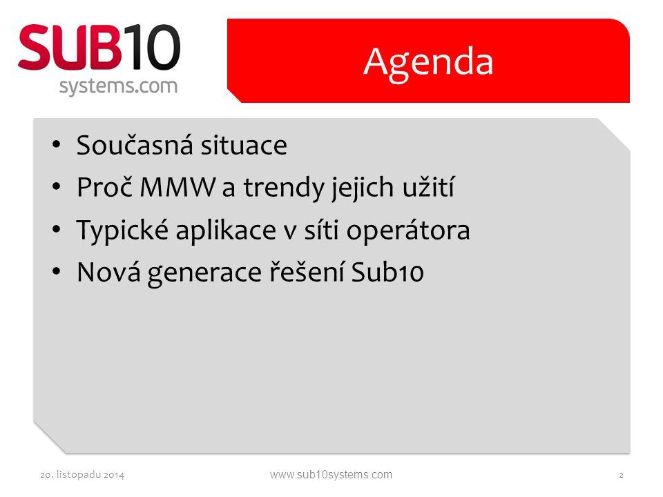 Současná situace Proč MMW a trendy jejich užití Typické aplikace v síti operátora Nová generace řešení Sub10 Agenda 20. listopadu 20142www.sub10system