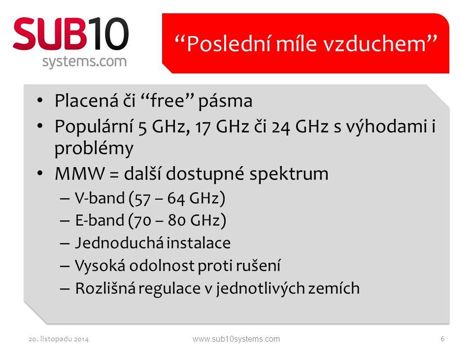 """Placená či """"free"""" pásma Populární 5 GHz, 17 GHz či 24 GHz s výhodami i problémy MMW = další dostupné spektrum – V-band (57 – 64 GHz) – E-band (70 – 80"""