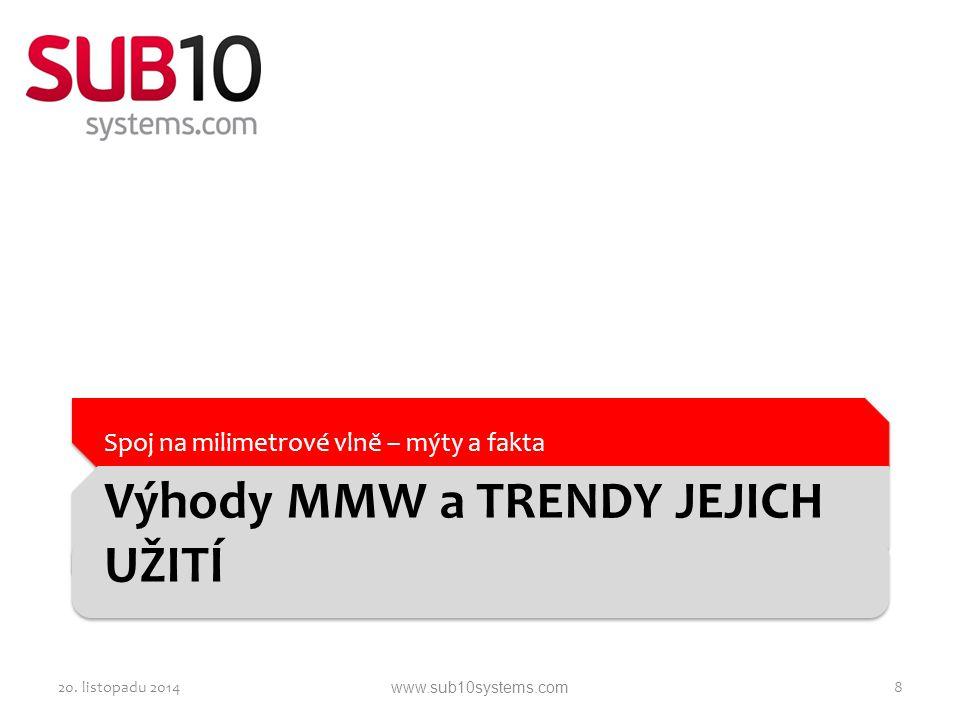 Výhody MMW a TRENDY JEJICH UŽITÍ Spoj na milimetrové vlně – mýty a fakta 20. listopadu 20148www.sub10systems.com