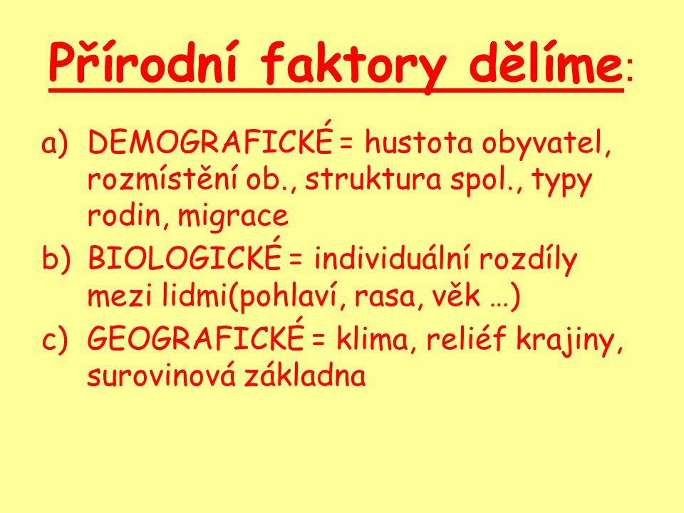 Přírodní faktory dělíme : a)DEMOGRAFICKÉ = hustota obyvatel, rozmístění ob., struktura spol., typy rodin, migrace b)BIOLOGICKÉ = individuální rozdíly mezi lidmi(pohlaví, rasa, věk …) c)GEOGRAFICKÉ = klima, reliéf krajiny, surovinová základna