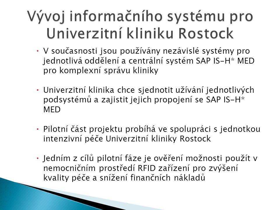  V současnosti jsou používány nezávislé systémy pro jednotlivá oddělení a centrální systém SAP IS-H* MED pro komplexní správu kliniky  Univerzitní klinika chce sjednotit užívání jednotlivých podsystémů a zajistit jejich propojení se SAP IS-H* MED  Pilotní část projektu probíhá ve spolupráci s jednotkou intenzivní péče Univerzitní kliniky Rostock  Jedním z cílů pilotní fáze je ověření možnosti použít v nemocničním prostředí RFID zařízení pro zvýšení kvality péče a snížení finančních nákladů