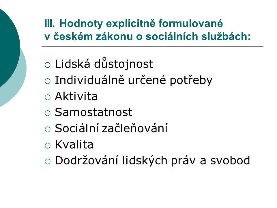 III. Hodnoty explicitně formulované v českém zákonu o sociálních službách:  Lidská důstojnost  Individuálně určené potřeby  Aktivita  Samostatnost