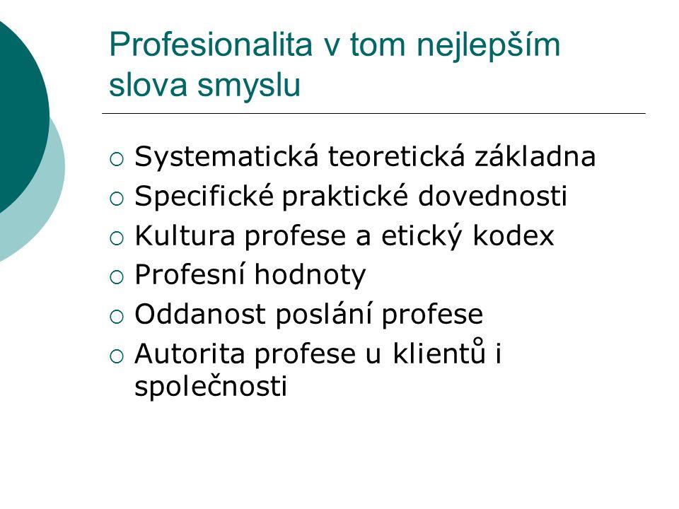 Profesionalita v tom nejlepším slova smyslu  Systematická teoretická základna  Specifické praktické dovednosti  Kultura profese a etický kodex  Pr