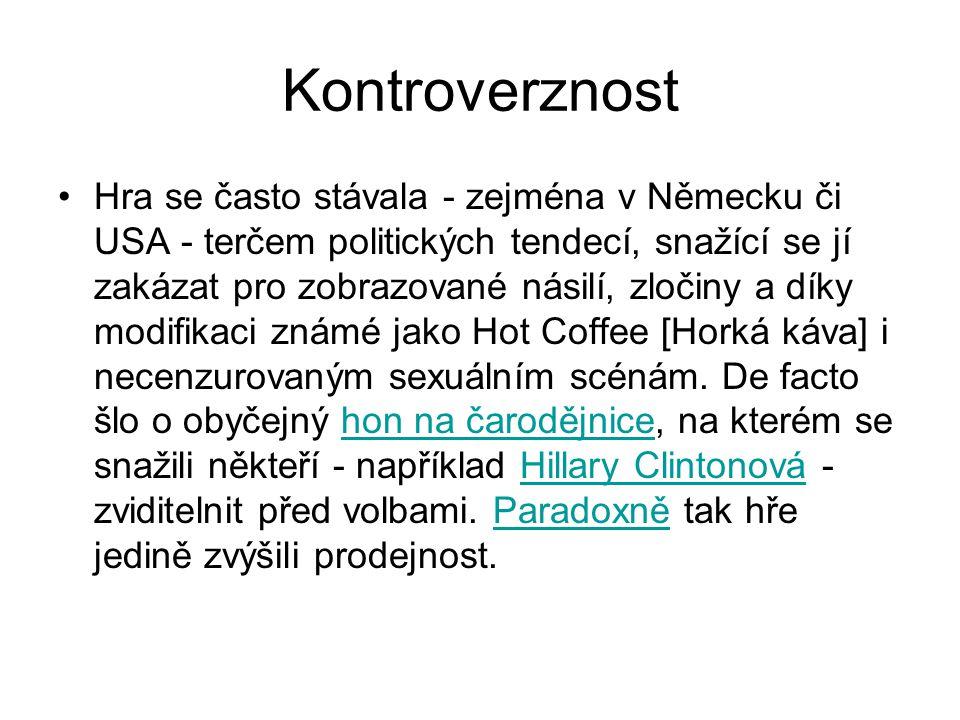 Kontroverznost Hra se často stávala - zejména v Německu či USA - terčem politických tendecí, snažící se jí zakázat pro zobrazované násilí, zločiny a díky modifikaci známé jako Hot Coffee [Horká káva] i necenzurovaným sexuálním scénám.