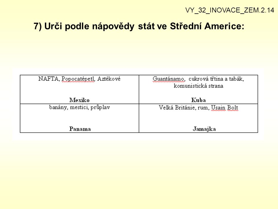 7) Urči podle nápovědy stát ve Střední Americe: VY_32_INOVACE_ZEM.2.14