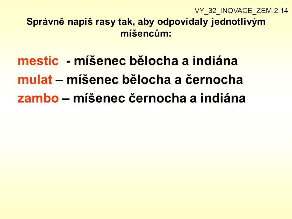 Správně napiš rasy tak, aby odpovídaly jednotlivým míšencům: mestic - míšenec bělocha a indiána mulat – míšenec bělocha a černocha zambo – míšenec čer