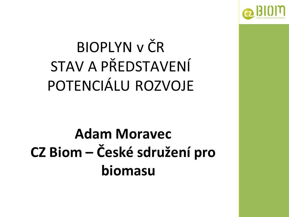 BIOPLYN v ČR STAV A PŘEDSTAVENÍ POTENCIÁLU ROZVOJE Adam Moravec CZ Biom – České sdružení pro biomasu