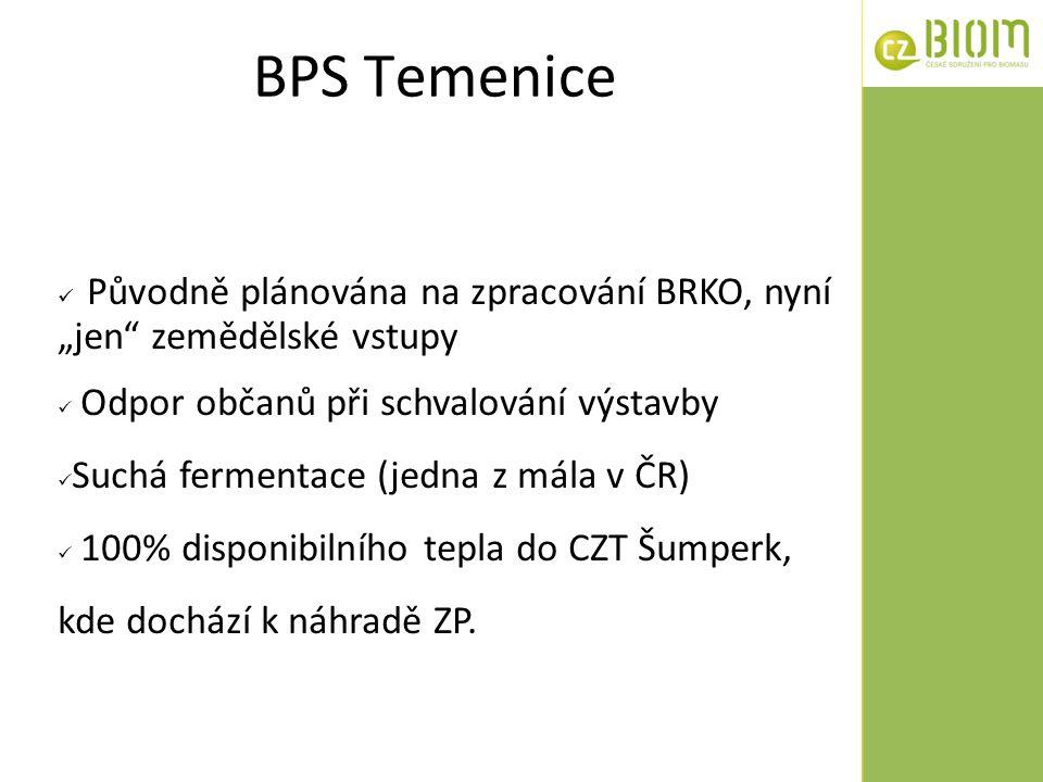 """BPS Temenice Původně plánována na zpracování BRKO, nyní """"jen"""" zemědělské vstupy Odpor občanů při schvalování výstavby Suchá fermentace (jedna z mála v"""