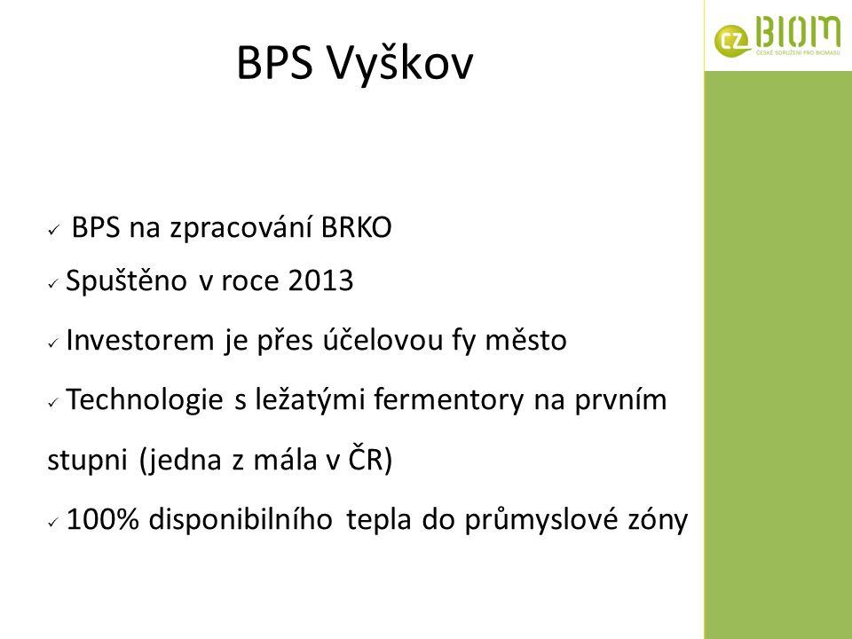 BPS Vyškov BPS na zpracování BRKO Spuštěno v roce 2013 Investorem je přes účelovou fy město Technologie s ležatými fermentory na prvním stupni (jedna
