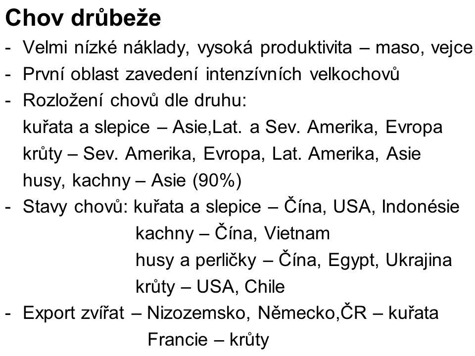 -Dovoz zvířat – Nizozemsko, Belgie – kuřata - USA, Polsko, Německo, Kanada – krůty -Produkce a vývoz masa – kuřecí – USA, Čína, Brazílie - kachní a husí – Čína - krůtí – USA, Francie -Produkce vajec – Asie (62 %), Evropa (15 %) - podle států – Čína – produkce - Nizozemsko – vývoz - Německo, Nizozemsko - dovoz