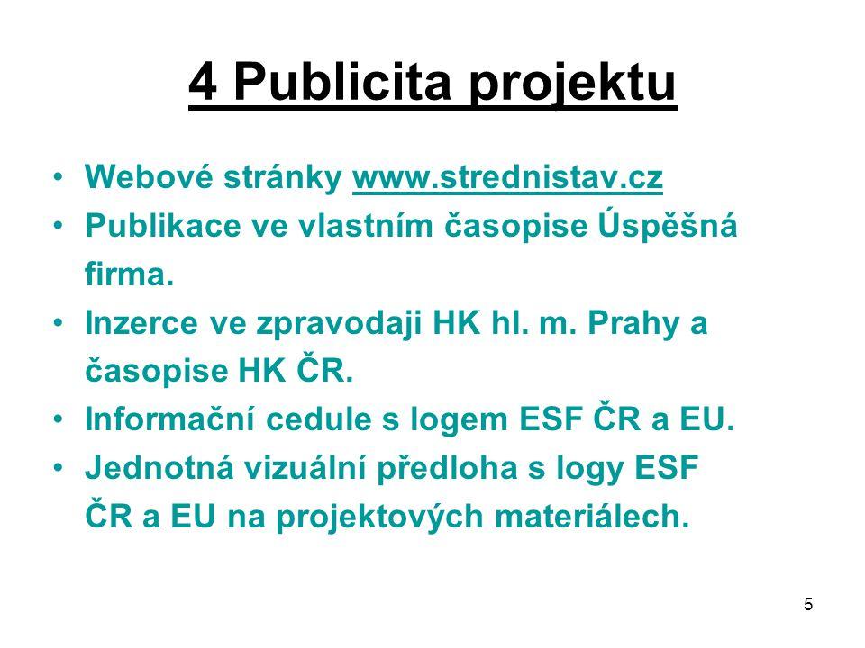 5 4 Publicita projektu Webové stránky www.strednistav.czwww.strednistav.cz Publikace ve vlastním časopise Úspěšná firma.