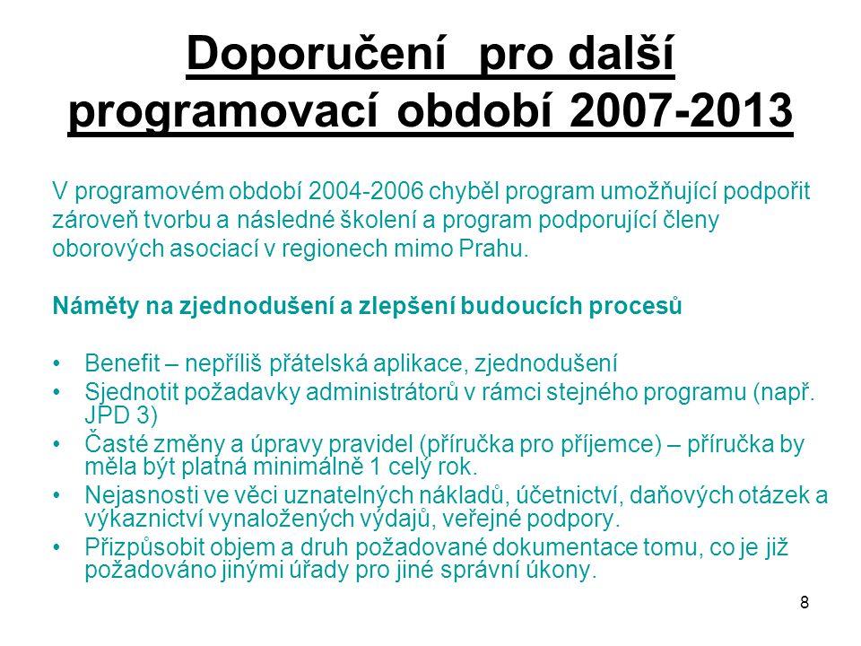 8 Doporučení pro další programovací období 2007-2013 V programovém období 2004-2006 chyběl program umožňující podpořit zároveň tvorbu a následné školení a program podporující členy oborových asociací v regionech mimo Prahu.