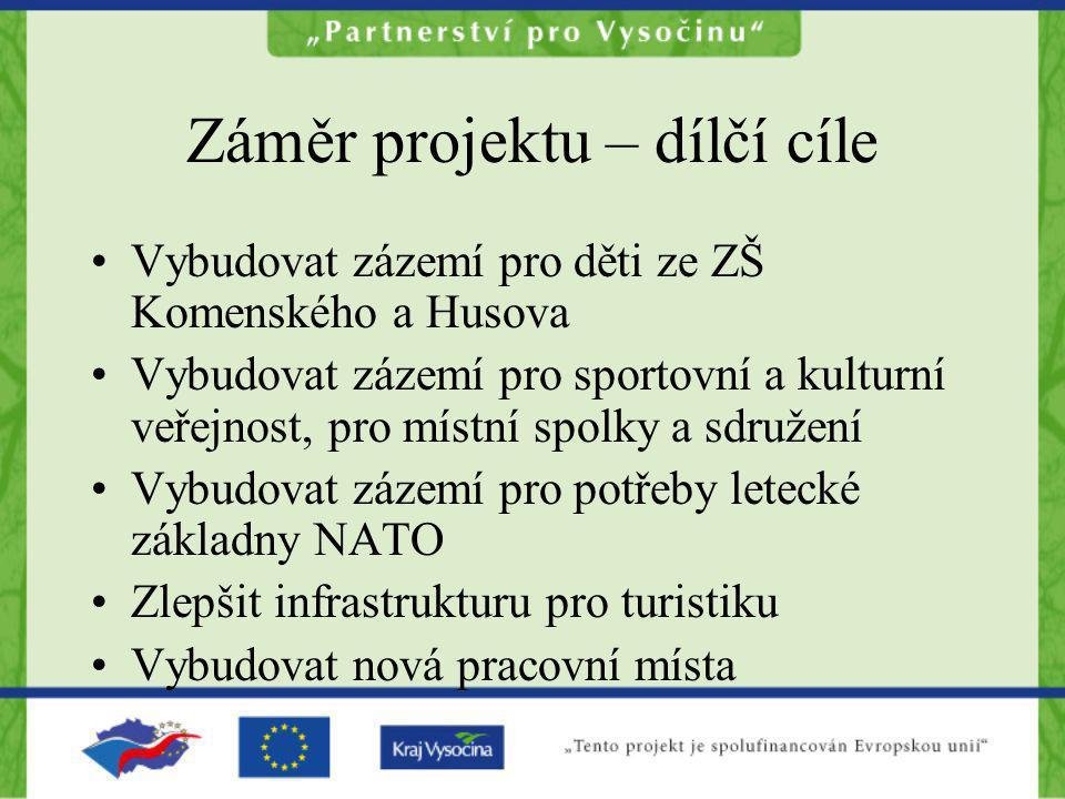 Záměr projektu – dílčí cíle Vybudovat zázemí pro děti ze ZŠ Komenského a Husova Vybudovat zázemí pro sportovní a kulturní veřejnost, pro místní spolky
