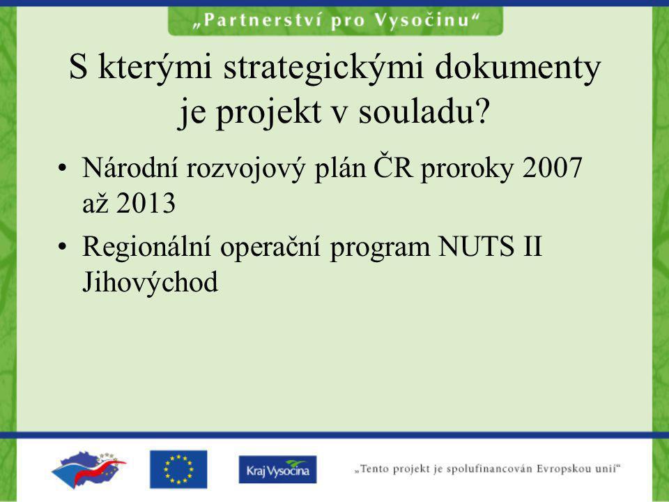 S kterými strategickými dokumenty je projekt v souladu? Národní rozvojový plán ČR proroky 2007 až 2013 Regionální operační program NUTS II Jihovýchod