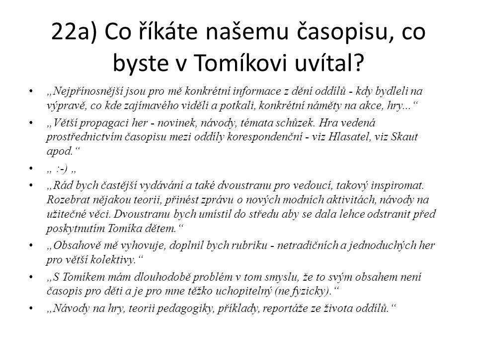 """22a) Co říkáte našemu časopisu, co byste v Tomíkovi uvítal? """"Nejpřínosnější jsou pro mě konkrétní informace z dění oddílů - kdy bydleli na výpravě, co"""