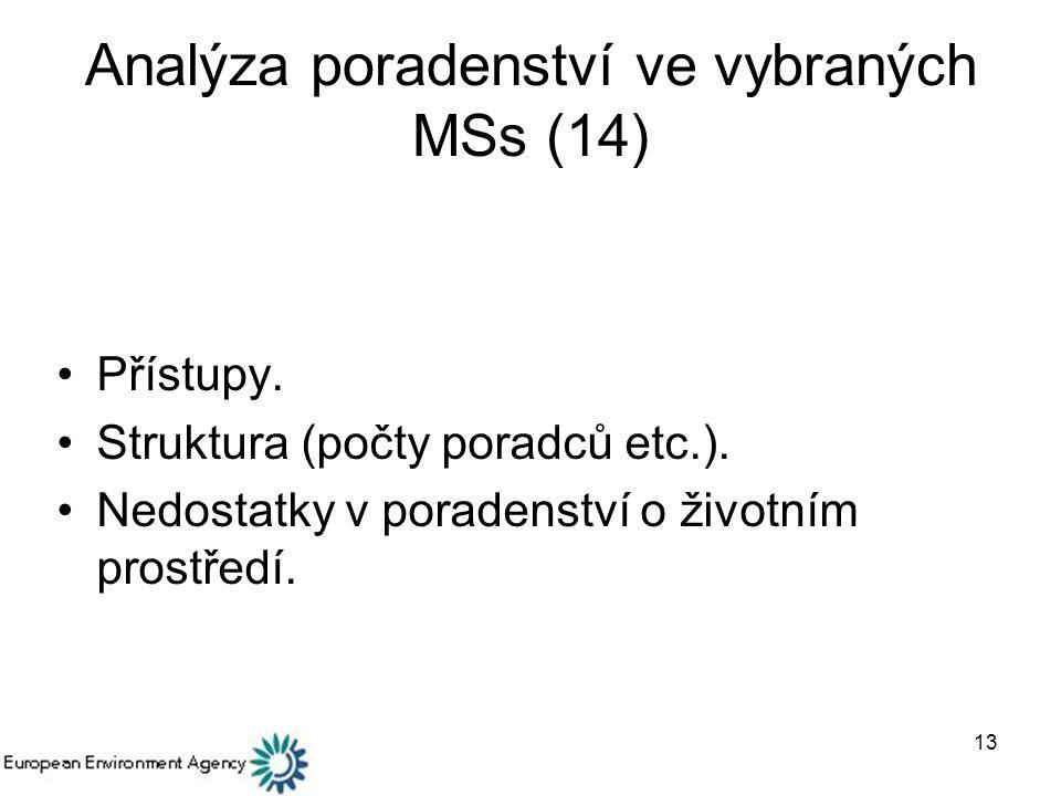 13 Analýza poradenství ve vybraných MSs (14) Přístupy.