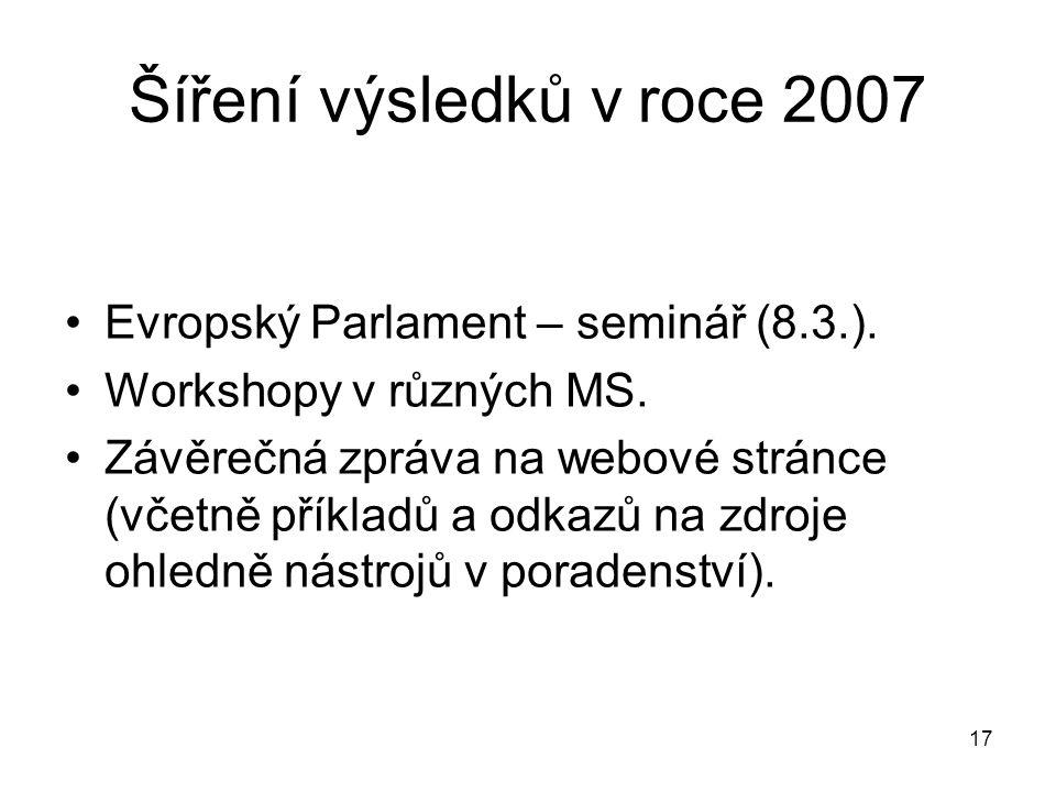 17 Šíření výsledků v roce 2007 Evropský Parlament – seminář (8.3.).