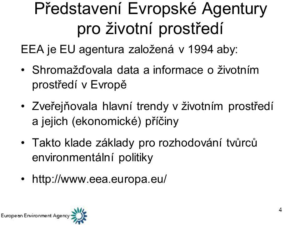 4 Představení Evropské Agentury pro životní prostředí EEA je EU agentura založená v 1994 aby: Shromažďovala data a informace o životním prostředí v Evropě Zveřejňovala hlavní trendy v životním prostředí a jejich (ekonomické) příčiny Takto klade základy pro rozhodování tvůrců environmentální politiky http://www.eea.europa.eu/