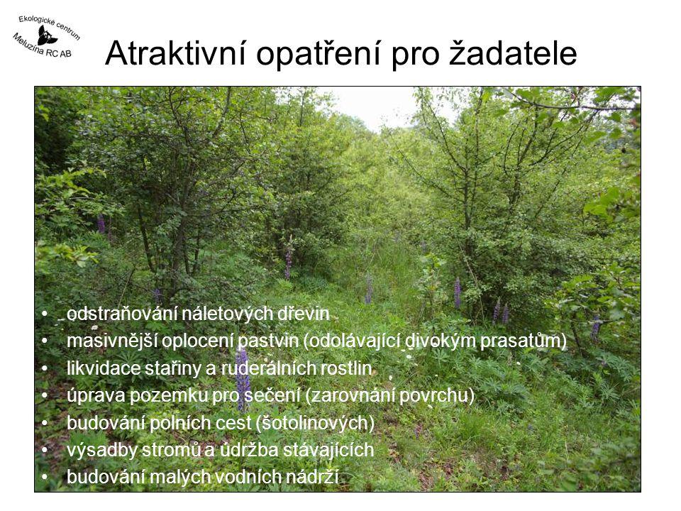 Atraktivní opatření pro žadatele odstraňování náletových dřevin masivnější oplocení pastvin (odolávající divokým prasatům) likvidace stařiny a ruderálních rostlin úprava pozemku pro sečení (zarovnání povrchu) budování polních cest (šotolinových) výsadby stromů a údržba stávajících budování malých vodních nádrží