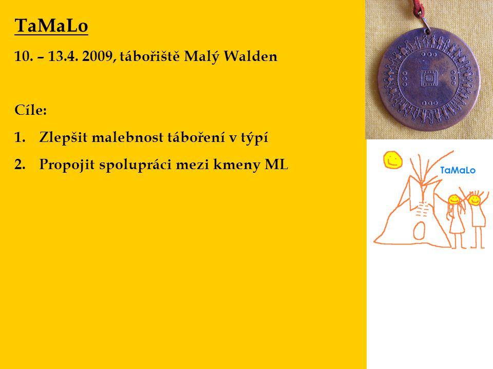 TaMaLo 10. – 13.4. 2009, tábořiště Malý Walden Cíle: 1.Zlepšit malebnost táboření v týpí 2.Propojit spolupráci mezi kmeny ML