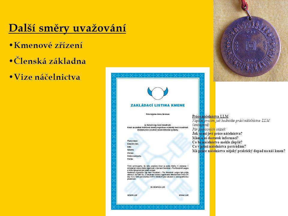 Další směry uvažování Kmenové zřízení Členská základna Vize náčelnictva Práce náčelnictva LLM Napište prosím, jak hodnotíte práci náčelnictva LLM (ano