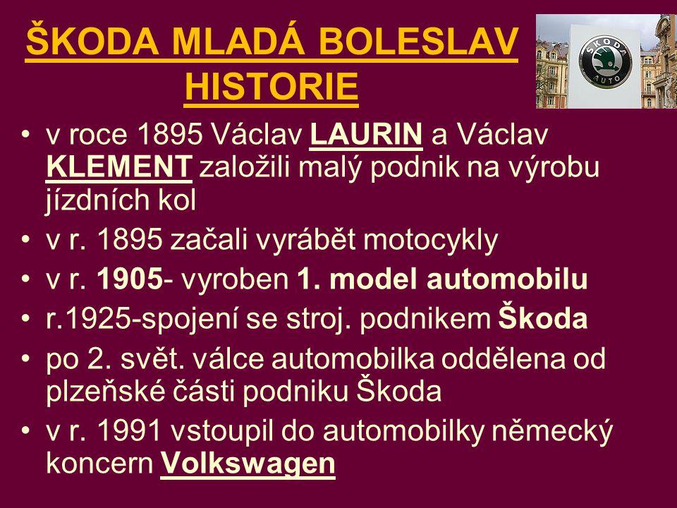 ŠKODA MLADÁ BOLESLAV HISTORIE v roce 1895 Václav LAURIN a Václav KLEMENT založili malý podnik na výrobu jízdních kol v r. 1895 začali vyrábět motocykl