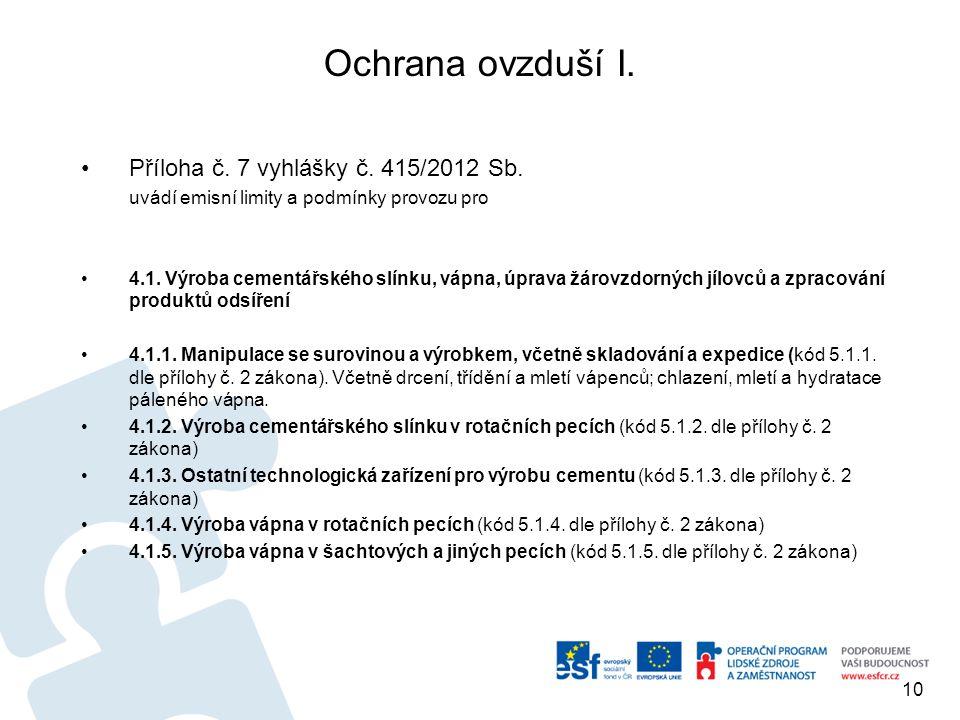 Ochrana ovzduší I. Příloha č. 7 vyhlášky č. 415/2012 Sb. uvádí emisní limity a podmínky provozu pro 4.1. Výroba cementářského slínku, vápna, úprava žá