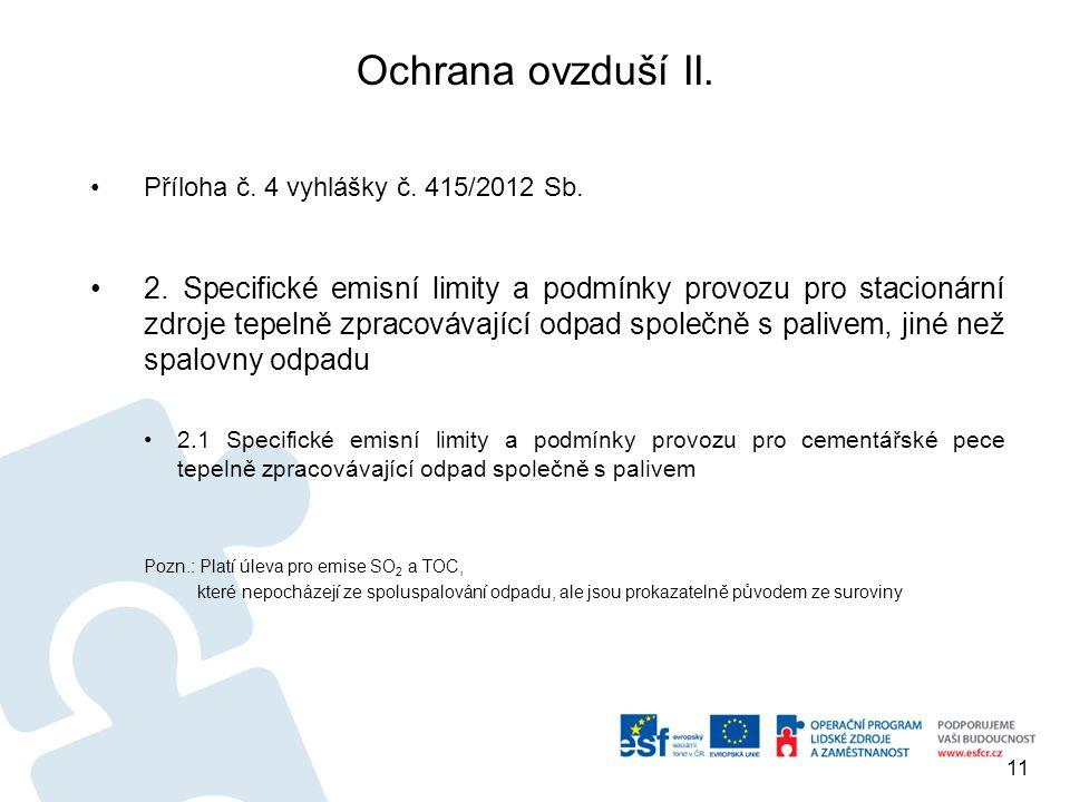 Ochrana ovzduší II. Příloha č. 4 vyhlášky č. 415/2012 Sb. 2. Specifické emisní limity a podmínky provozu pro stacionární zdroje tepelně zpracovávající