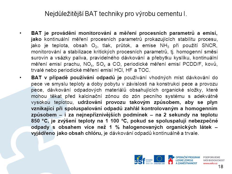 Nejdůležitější BAT techniky pro výrobu cementu I. BAT je provádění monitorování a měření procesních parametrů a emisí, jako kontinuální měření procesn