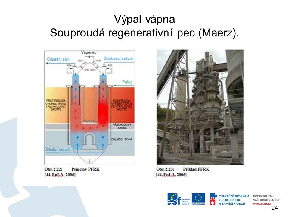 Výpal vápna Souproudá regenerativní pec (Maerz). 24