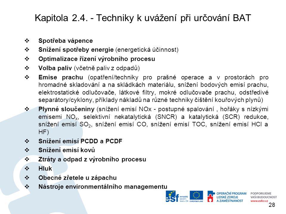 Kapitola 2.4. - Techniky k uvážení při určování BAT  Spotřeba vápence  Snížení spotřeby energie (energetická účinnost)  Optimalizace řízení výrobní