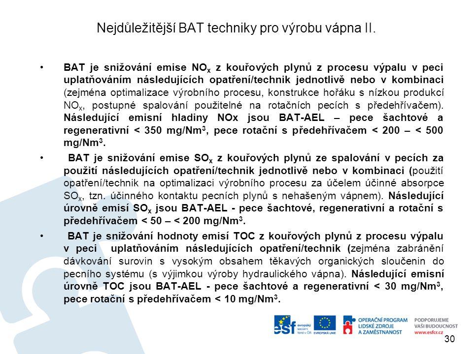 Nejdůležitější BAT techniky pro výrobu vápna II. BAT je snižování emise NO x z kouřových plynů z procesu výpalu v peci uplatňováním následujících opat