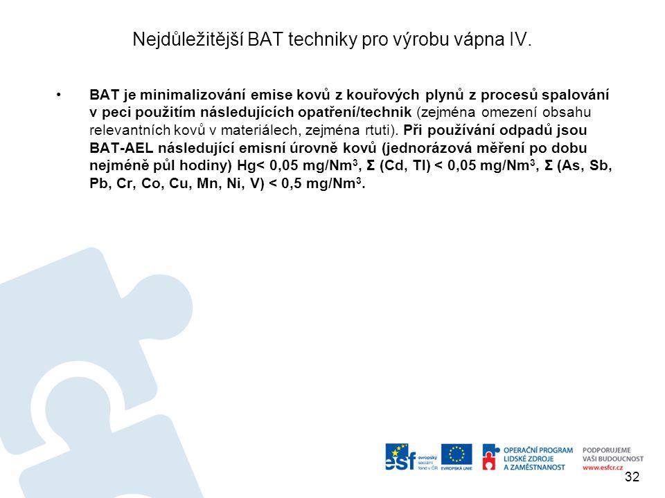 Nejdůležitější BAT techniky pro výrobu vápna IV. BAT je minimalizování emise kovů z kouřových plynů z procesů spalování v peci použitím následujících