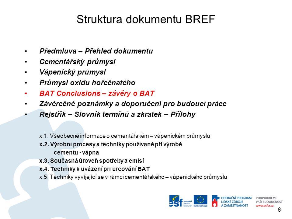 Struktura dokumentu BREF Předmluva – Přehled dokumentu Cementářský průmysl Vápenický průmysl Průmysl oxidu hořečnatého BAT Conclusions – závěry o BAT