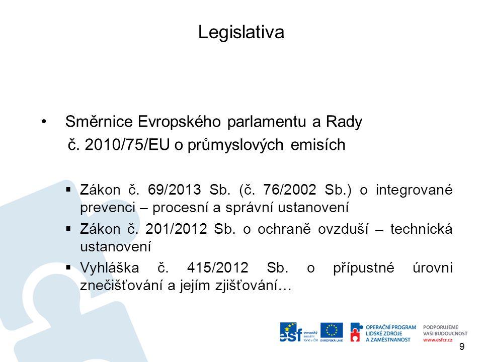 Legislativa Směrnice Evropského parlamentu a Rady č. 2010/75/EU o průmyslových emisích  Zákon č. 69/2013 Sb. (č. 76/2002 Sb.) o integrované prevenci
