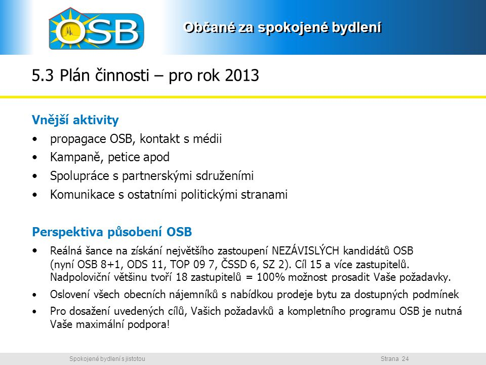 Občané za spokojené bydlení Strana 24Spokojené bydlení s jistotou Občané za spokojené bydlení 5.3 Plán činnosti – pro rok 2013 Vnější aktivity propaga