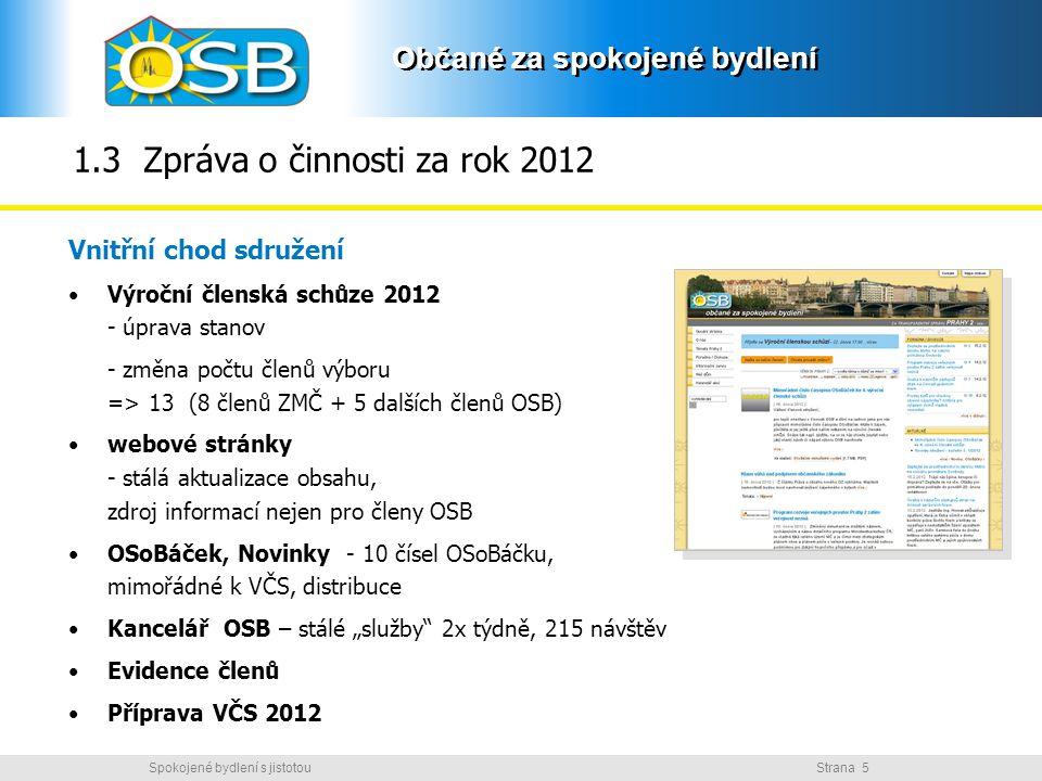 Občané za spokojené bydlení Strana 5Spokojené bydlení s jistotou Občané za spokojené bydlení 1.3 Zpráva o činnosti za rok 2012 Vnitřní chod sdružení V