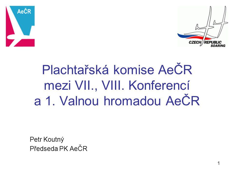 1 Plachtařská komise AeČR mezi VII., VIII. Konferencí a 1. Valnou hromadou AeČR Petr Koutný Předseda PK AeČR