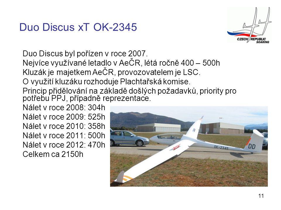 11 Duo Discus byl pořízen v roce 2007. Nejvíce využívané letadlo v AeČR, létá ročně 400 – 500h Kluzák je majetkem AeČR, provozovatelem je LSC. O využi