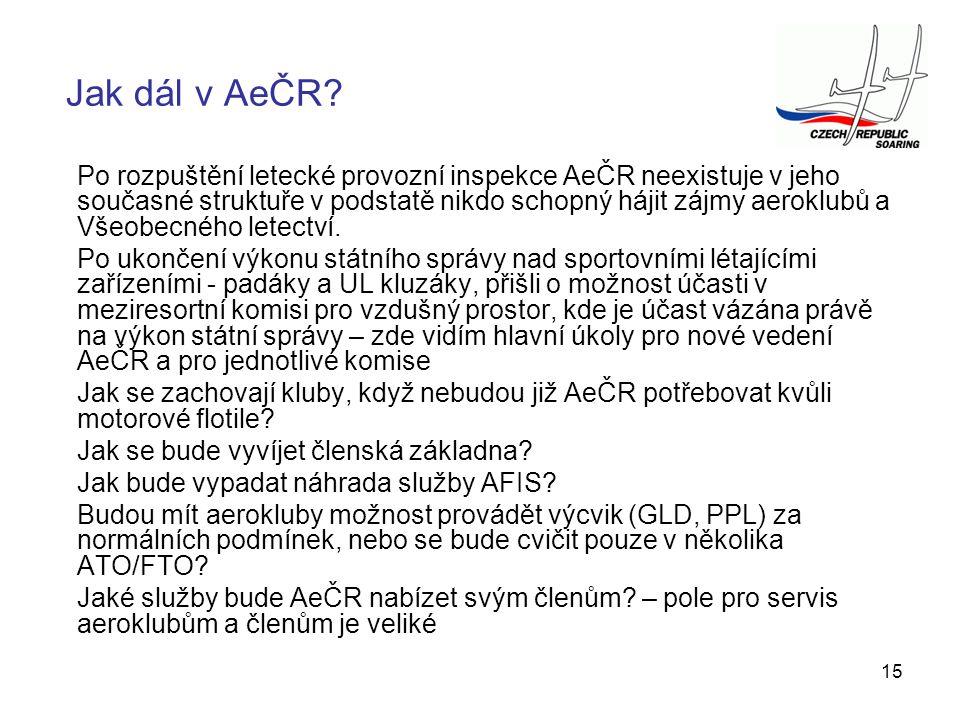 15 Po rozpuštění letecké provozní inspekce AeČR neexistuje v jeho současné struktuře v podstatě nikdo schopný hájit zájmy aeroklubů a Všeobecného lete