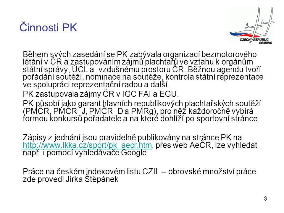 3 Činnosti PK Během svých zasedání se PK zabývala organizací bezmotorového létání v ČR a zastupováním zájmů plachtařů ve vztahu k orgánům státní správ