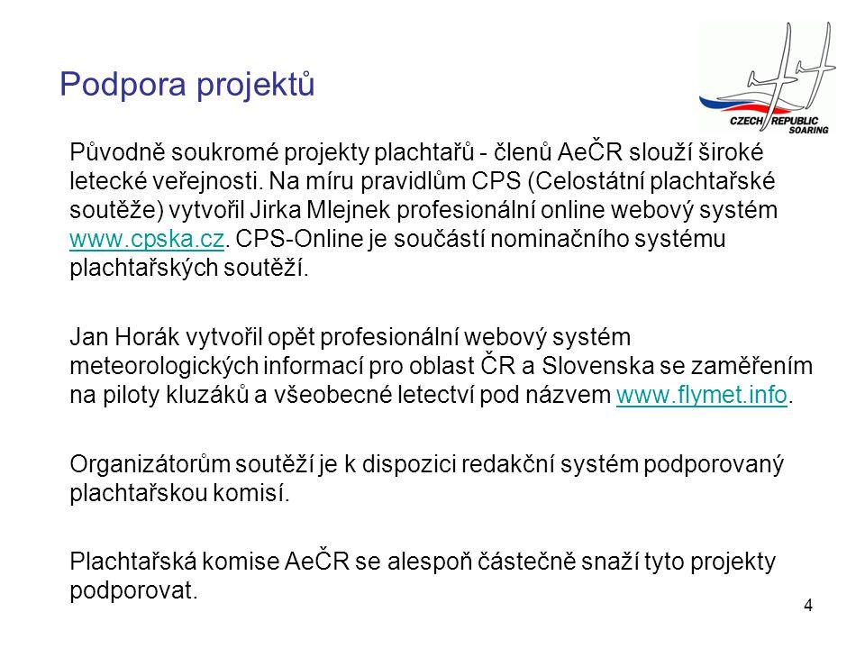 4 Podpora projektů Původně soukromé projekty plachtařů - členů AeČR slouží široké letecké veřejnosti. Na míru pravidlům CPS (Celostátní plachtařské so