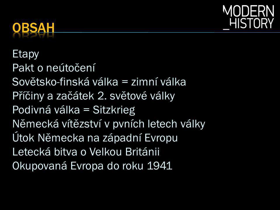 Etapy Pakt o neútočení Sovětsko-finská válka = zimní válka Příčiny a začátek 2.