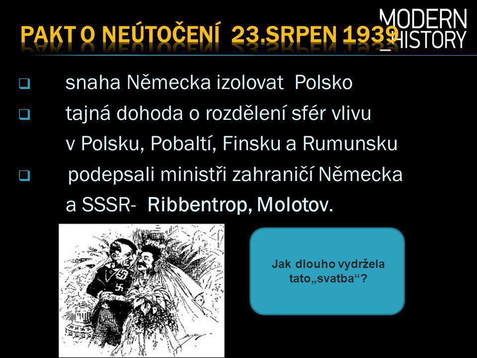  snaha Německa izolovat Polsko  tajná dohoda o rozdělení sfér vlivu v Polsku, Pobaltí, Finsku a Rumunsku  podepsali ministři zahraničí Německa a SSSR- Ribbentrop, Molotov.