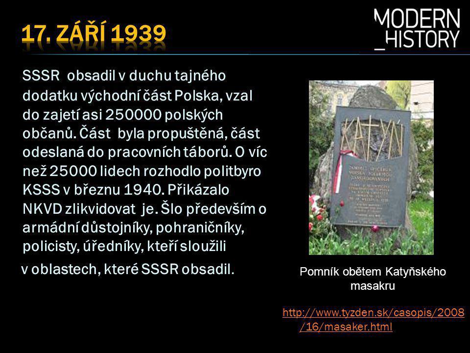 SSSR obsadil v duchu tajného dodatku východní část Polska, vzal do zajetí asi 250000 polských občanů.