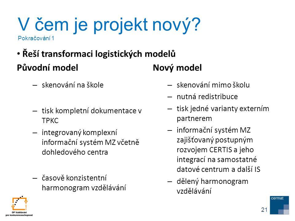 V čem je projekt nový? Pokračování 1 Původní model – skenování na škole – tisk kompletní dokumentace v TPKC – integrovaný komplexní informační systém