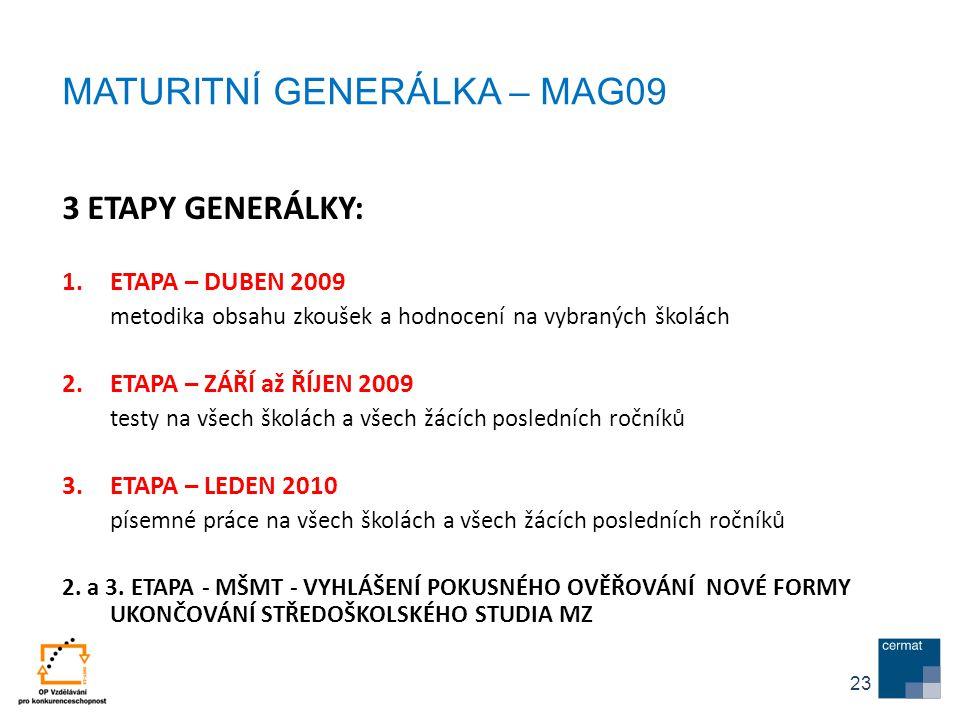 3 ETAPY GENERÁLKY: 1.ETAPA – DUBEN 2009 metodika obsahu zkoušek a hodnocení na vybraných školách 2.ETAPA – ZÁŘÍ až ŘÍJEN 2009 testy na všech školách a