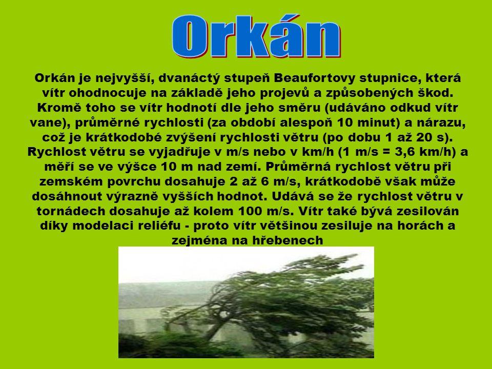 Orkán je nejvyšší, dvanáctý stupeň Beaufortovy stupnice, která vítr ohodnocuje na základě jeho projevů a způsobených škod.