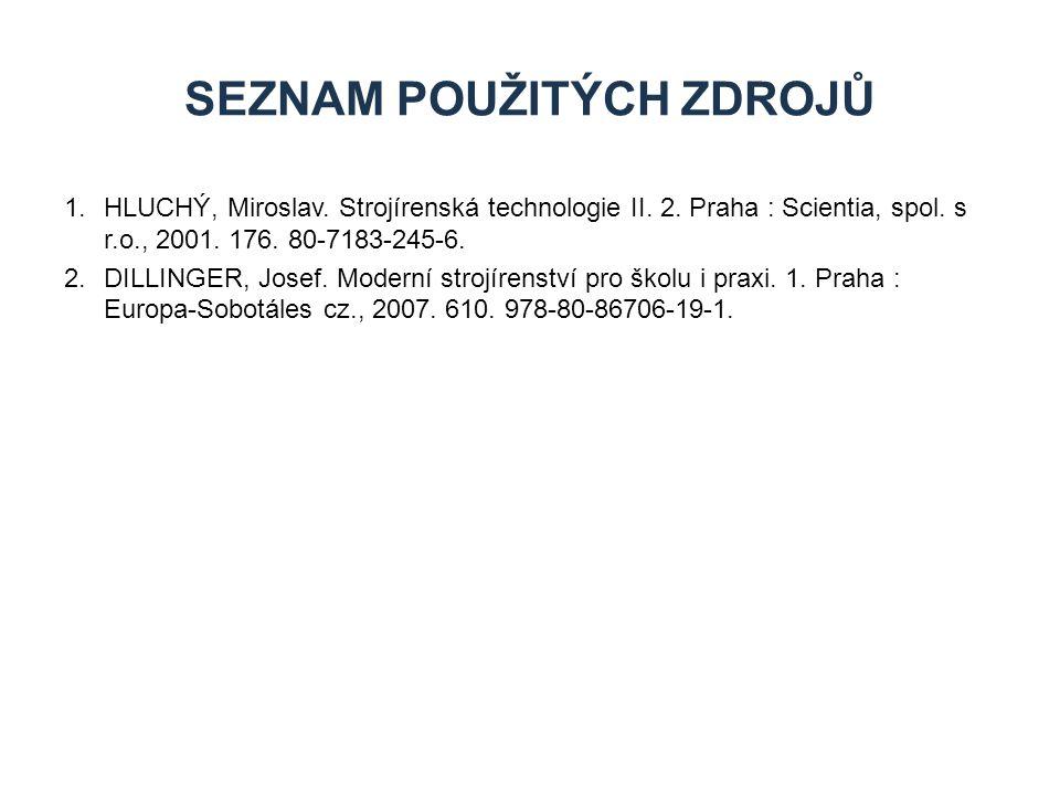 1.HLUCHÝ, Miroslav. Strojírenská technologie II. 2. Praha : Scientia, spol. s r.o., 2001. 176. 80-7183-245-6. 2.DILLINGER, Josef. Moderní strojírenstv