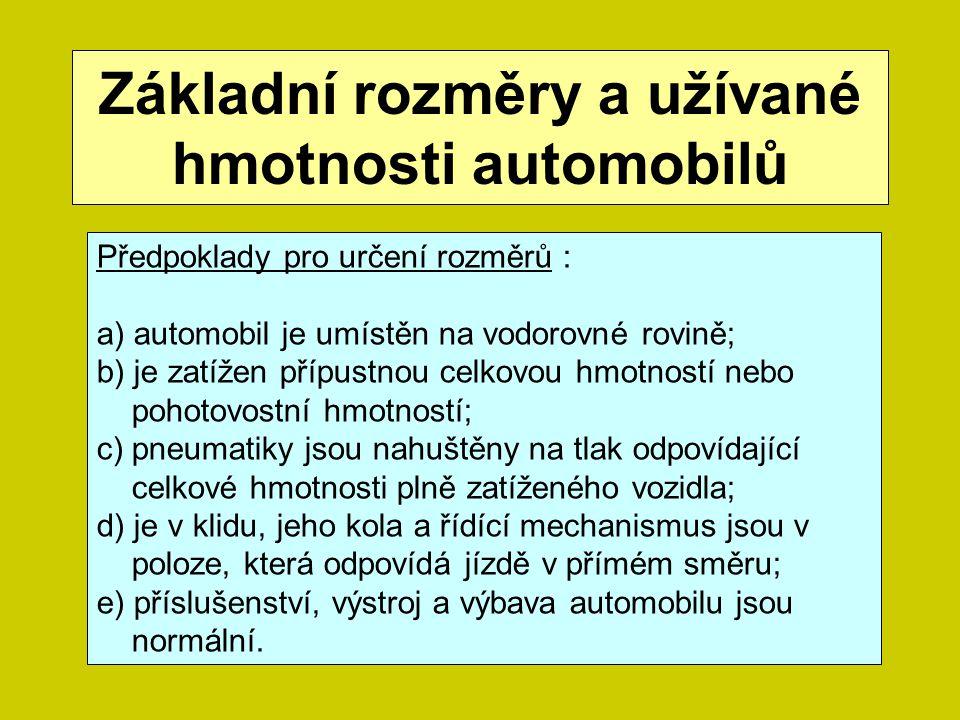 Základní rozměry a užívané hmotnosti automobilů Předpoklady pro určení rozměrů : a) automobil je umístěn na vodorovné rovině; b) je zatížen přípustnou